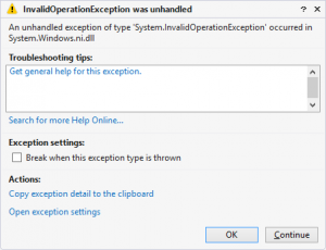 InvalidOperationException from a BackgroundTask in WP